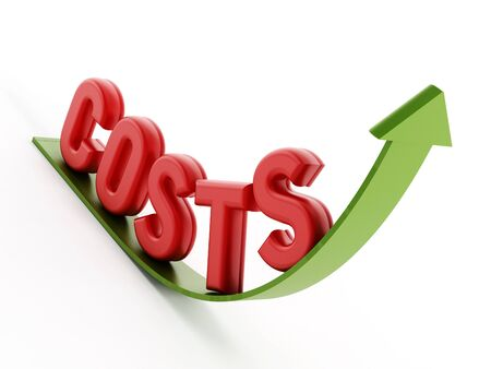low cost: Rising costs text on the arrow Stock Photo