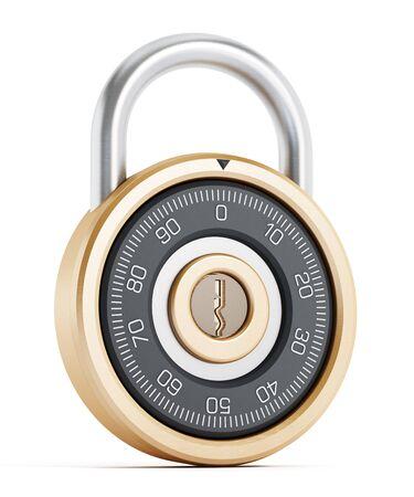 Safe combination lock isolated on white background photo