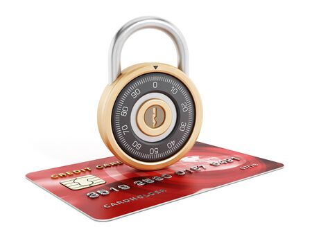 combination safe: Safe combination lock on credit card isolated on white background