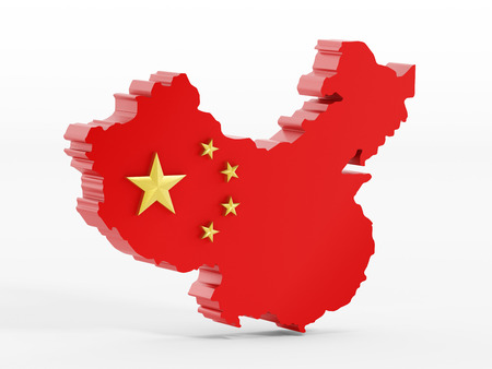 China map and flag isolated on white background