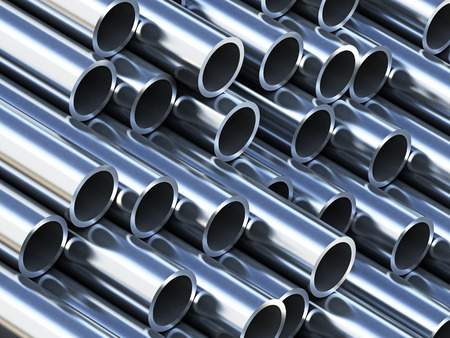 Steel tubes stack with reflection Stock Photo