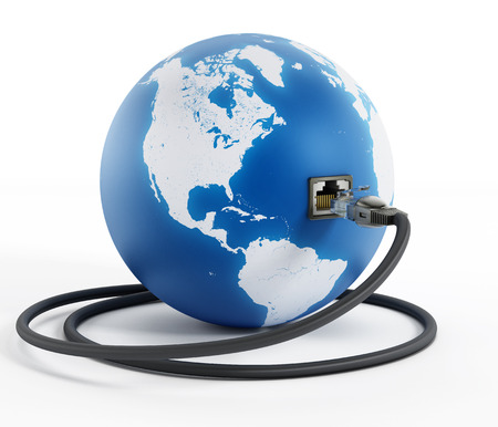 networking cables: Network cable connected to the blue globe with a socket