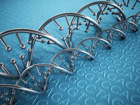guanine: DNA strands background with blue color tones.