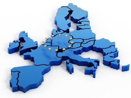 De kaart van Europa op een witte achtergrond Stockfoto