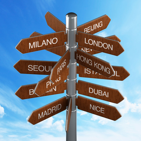 Travel destinations signpost with city names