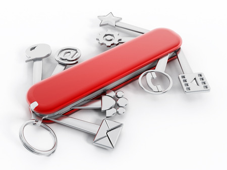 Swiss knife with technology icons isolated on white background