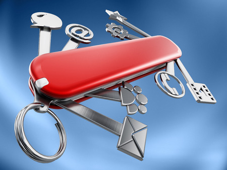 communication tools: Swiss knife with technology icons isolated on white background