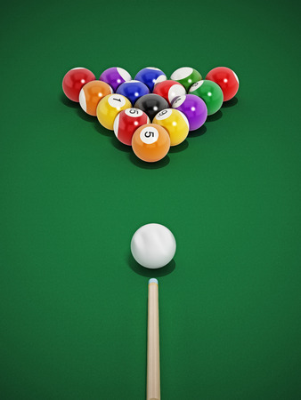 billiards tables: 8 ball pool table with balls and cue.