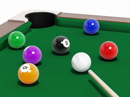 cue sports: 8 ball pool table with balls and cue.