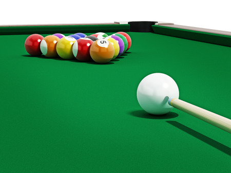 pool cue: 8 ball pool table with balls and cue.