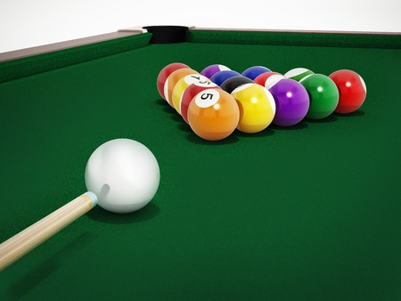to play ball: 8 ball pool table with balls and cue.