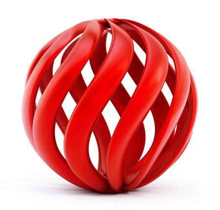 globe logo: Red abstract globe shape isolated on white background