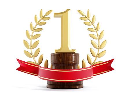 primer lugar: Oro trofeo primer premio aislado en fondo blanco