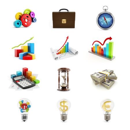 Business icons set consisting of twelve 3D render