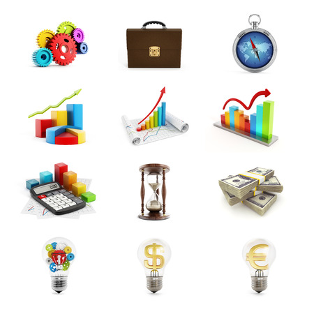 3d icon: Business icons set consisting of twelve 3D render