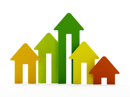 house prices: Rising house prices chart on white background