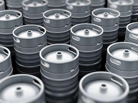 keg: Metal Keg stack arrangement focus on the center Stock Photo