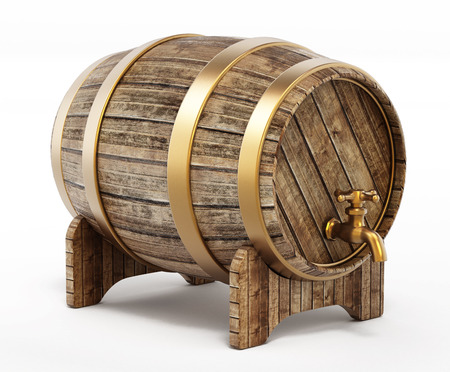 Wooden barrel with tap isolated on white background