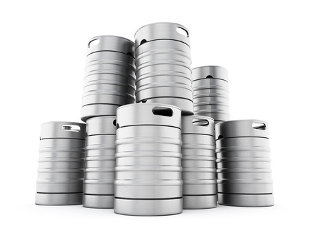 steel drum: Keg stack isolated on white background