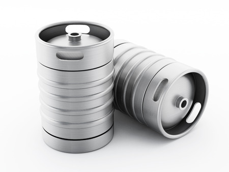 draught: Two kegs isolated on white background