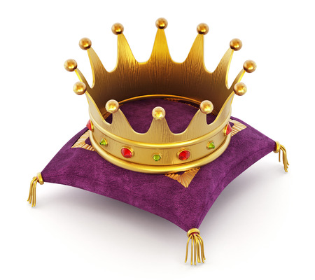 pillows: Gold Crown on the purple pillow isolated on white background