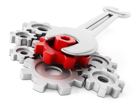 Wrench and bolt connected to red gear isolated on white background Stock Photo