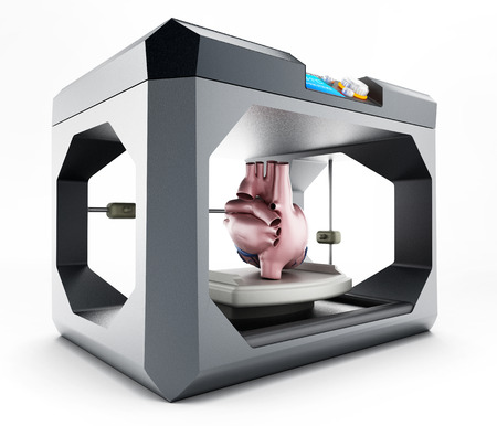 3D-printer op een witte achtergrond