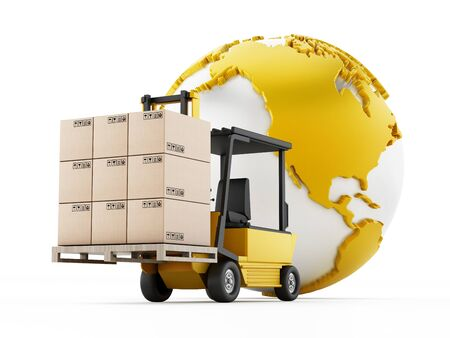 alongside: Global transportation and shipping concept with a forklift holding cargo boxes alongside the Earth.