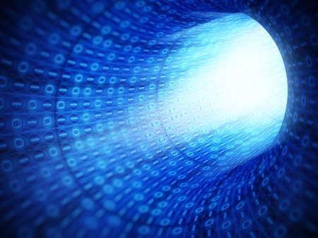 tunnel: Blue binary code technology tunnel Stock Photo