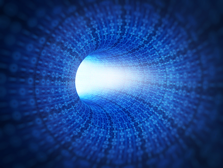 Blue binary code technology tunnel Stock Photo