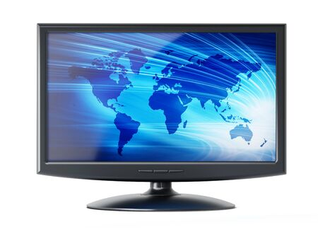 monitor screen: Computer monitor with blue earth background on the screen isolated on white background Stock Photo
