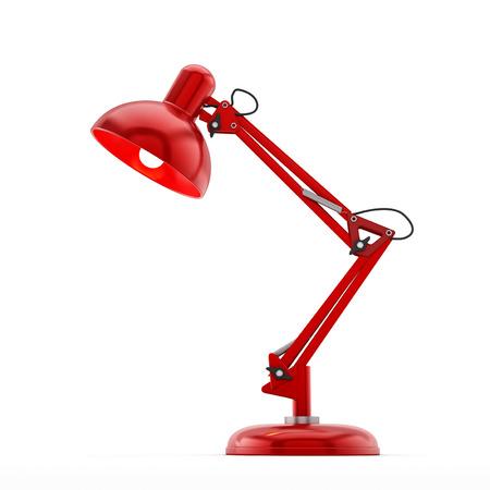 Czerwone lampy biurko na białym tle