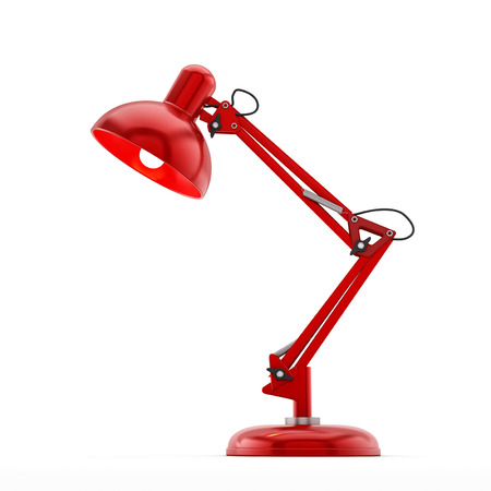 Red desk lamp isolated on white background