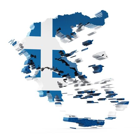 greece map: Greece map and flag Stock Photo