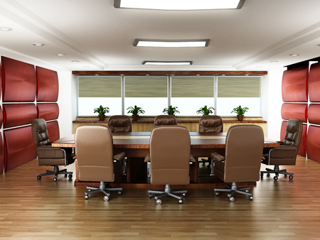 ejecutivo en oficina: Table and chair in the office boardroom with no people