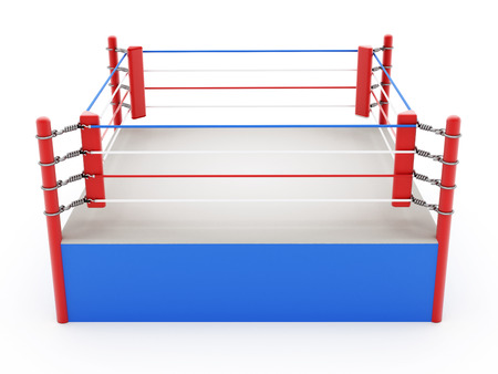 Boxing ring isolated on white background Banque d'images