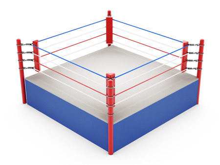 boxing sport: Boxing ring isolated on white background Stock Photo