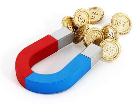 force: Horseshoe magnet attracts gold coins Stock Photo