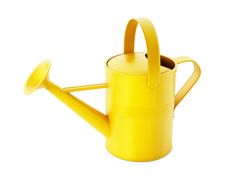 regando plantas: Yellow watering can isolated on white background