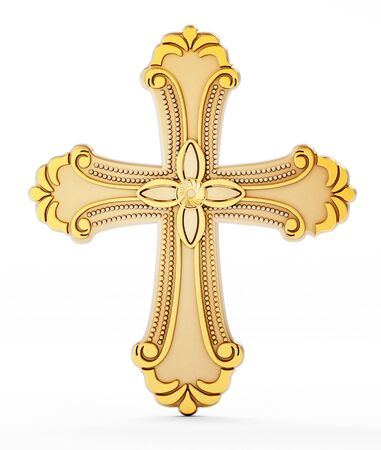 gold cross: Gold cross isolated on white background.