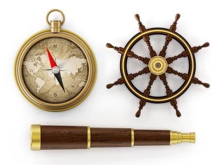 ビンテージの望遠鏡、コンパス、船のホイール