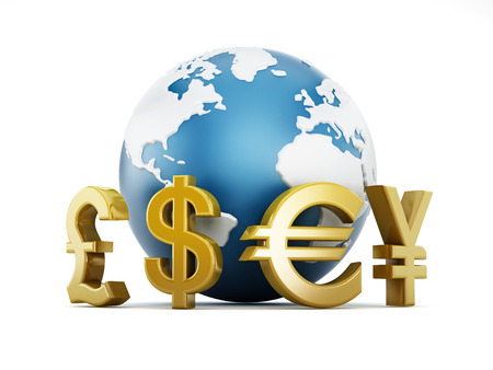 Gold currency symbols around the globe Stock Photo