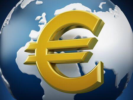 gold globe: Gold euro symbol around the globe