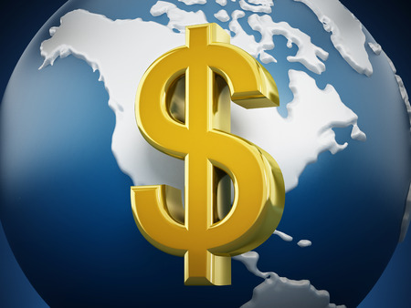 gold globe: Gold dollar symbol around the globe