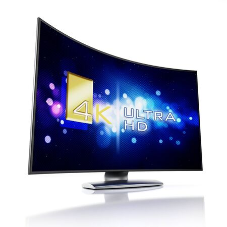 high definition: 4K Ultra HD television isolated on white background Stock Photo