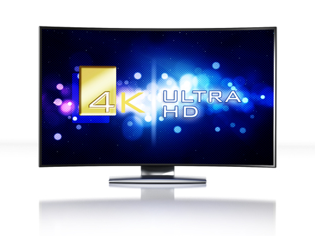 high definition television: 4K Ultra HD television isolated on white background Stock Photo