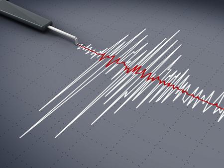 Gráfico de la actividad sísmica mostrando un terremoto. Foto de archivo - 43581425