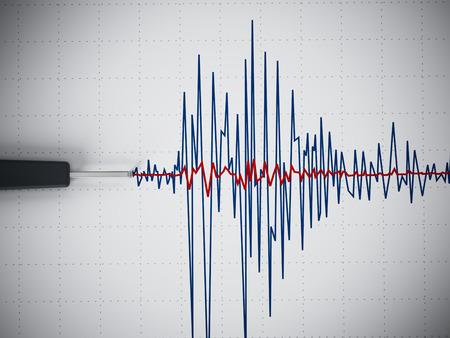 sismogr�fo: Gr�fico de la actividad s�smica mostrando un terremoto. Foto de archivo