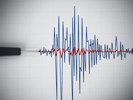 polygraph: Seismic activity graph showing an earthquake.