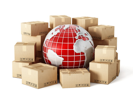 international shipping: Cargo boxes around the globe isolated on white background